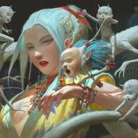 Japanese, Chinese and Korean cultures into dark surreal art