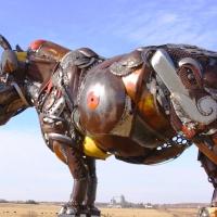John Lopez unveils  life-size scrap metal sculptures