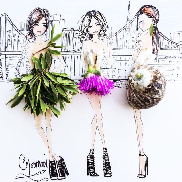 Moomooi designs creative blends of flowers and sketeches ausquerry moomooi someflowergirls fashion illustration with flowers veggies everyday altavistaventures Images