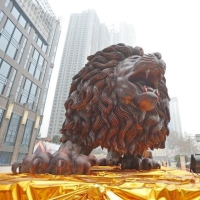 The Largest Oriental Lion on display; Carved from a single Redwood Tree