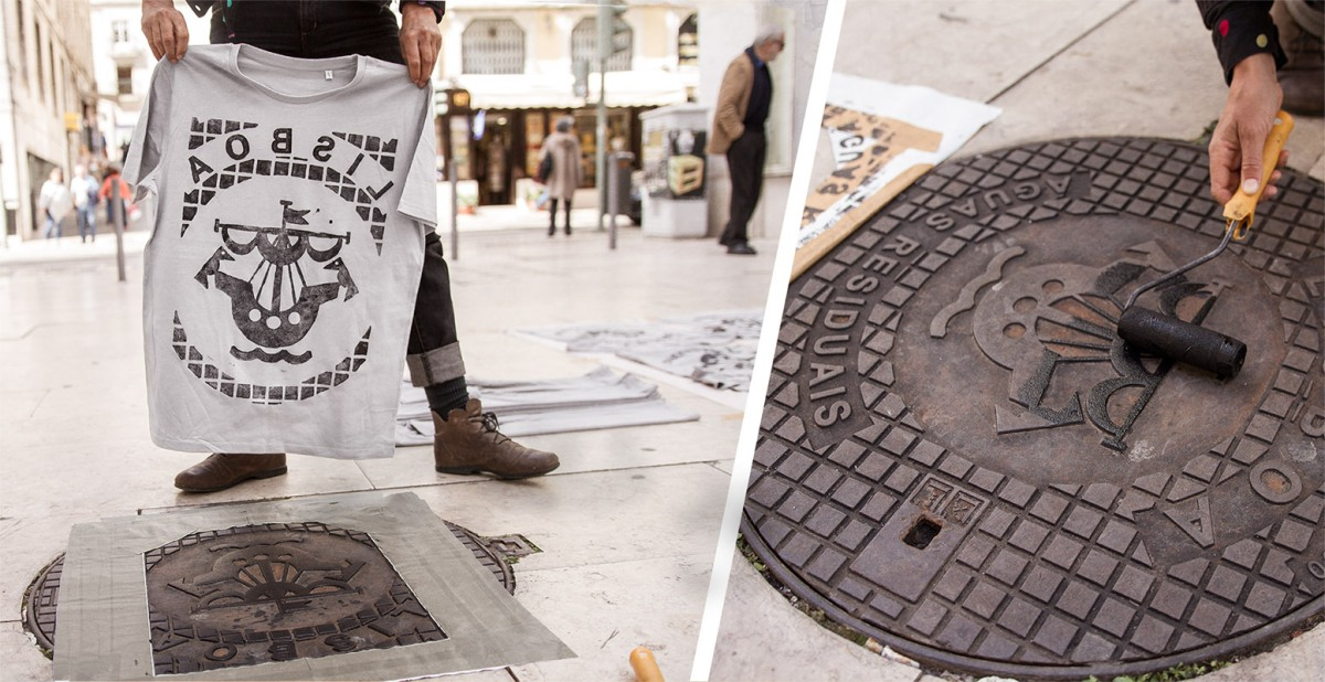 Raubdruckerin stamps manhole covers on wearable items