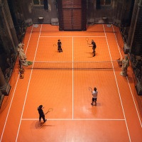 Milan's San Paolo converso church welcomes orange tennis court