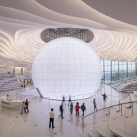MVRDV's Tianjin Bianjin Binjin library  auditorium features a huge spherical globe