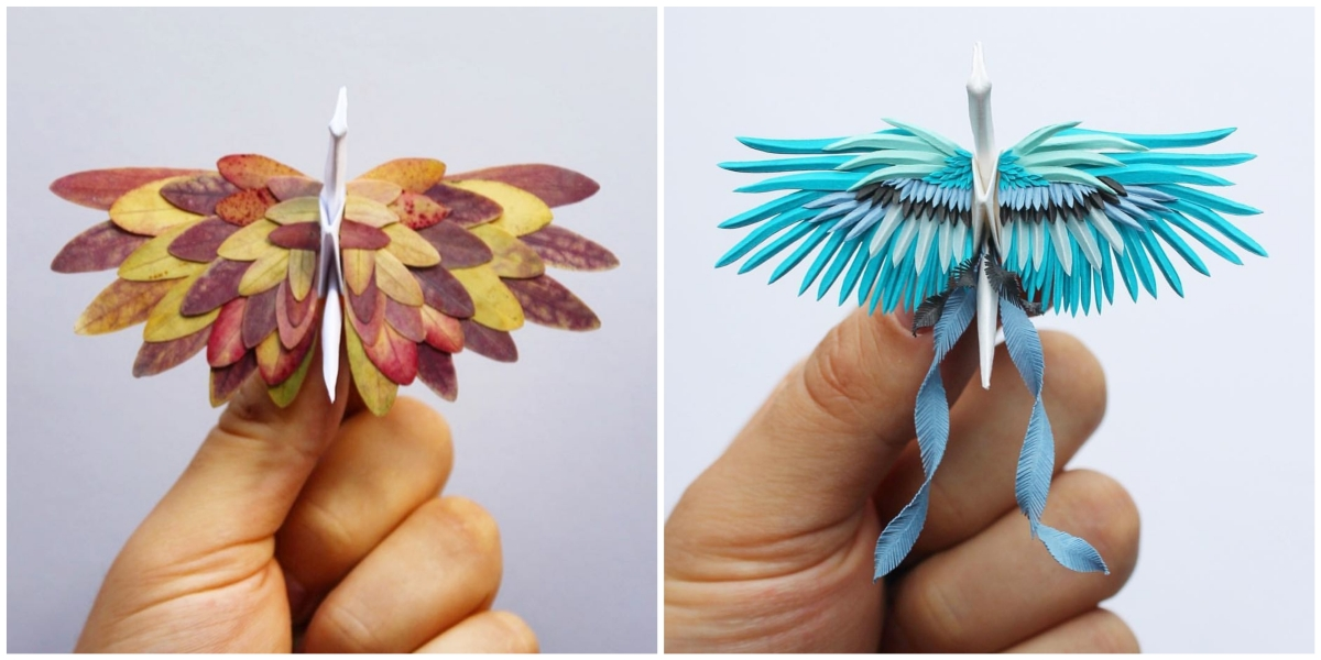 origami enthusiast craft intricately detailed, aesthetically satisfying  cranes