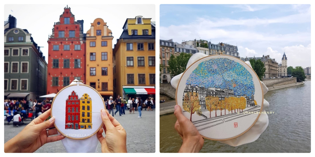 10+ embroidery art by creative couple, inspired by European architecture